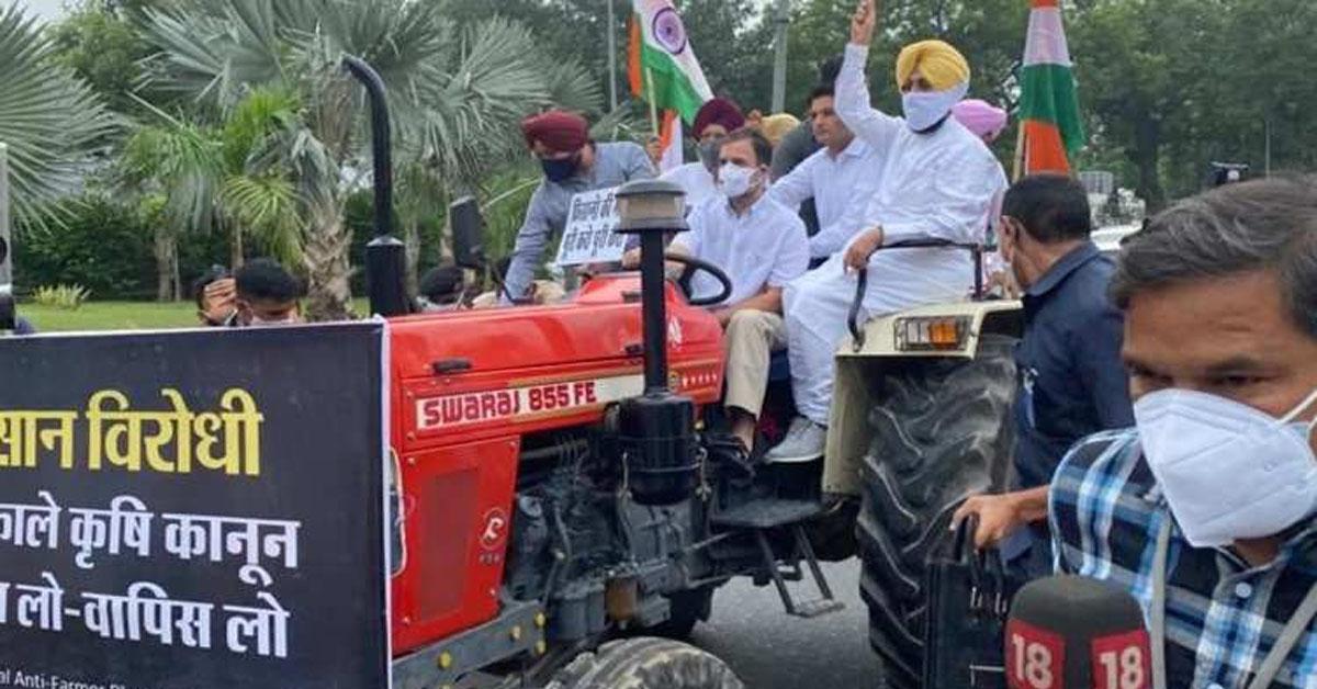 राहुल गांधी ट्रैक्टर से विजय चौक पहुंचे, किसान आंदोलन के समर्थन में मुहिम